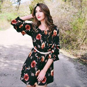 Beautiful Olive Green Floral Ruffled Sleeve Dress!